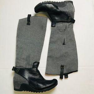 Puma Black Grey Below Knee High Wedge Boots 8.5